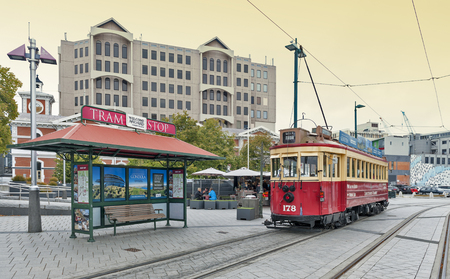 newzealand: Christchurch, New Zealand - February 14, 2016: Vintage style tram on the Christchurch Tramway offers a unique city tour by the classic way of transportation in New Zealand