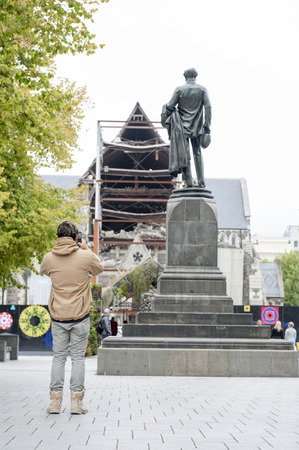 Christchurch, New Zealand - February 2016: The Godley Statue situated in front of the Christchurch Cathedral at the Cathedral Square as a commemoration to John Robert Godley - the Founder of Canterbury