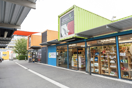 Christchurch, New Zealand - February 2016: Restart or Re:START Mall, an outdoor retail space consisting of shops and stores in shipping containers