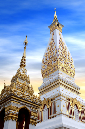 Temple of Phra That Phanom Stupa containing Buddhas breast bone, one of the most important Theravada Buddhist structures in the region, located in in Nakhon Phanom Province, northeastern Thailand