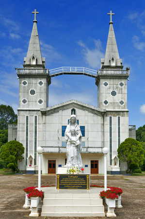 Nakhon Phanom, Thailand - May 2017: Saint Anna Nong Saeng Catholic Church, religious landmark of Nakhon Phanom built in 1926 by Catholic priests