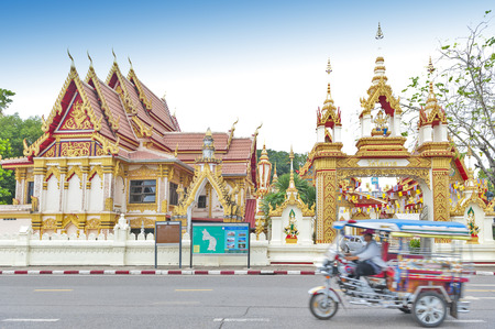 Wat Okat Si Bua Ban, old sacred temple houses two revered Buddha images, Phra Tio and Phra Thiam in the city of Nakhon Phanom Province, Thailand Banco de Imagens - 85873095