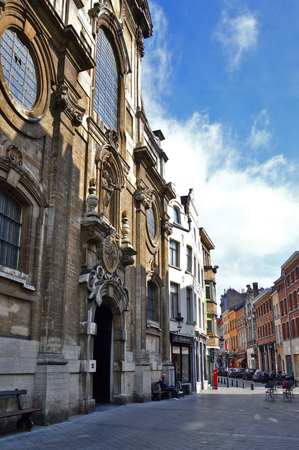 Brussels, Belgium - April 2015:  Church of Our Lady of Assistance (Notre-Dame de Bon Secours), a catholic parish church built in 17th century in mixed Baroque and Flemish-Italian architectural style, located in city centre of Brussels, Belgium Editorial