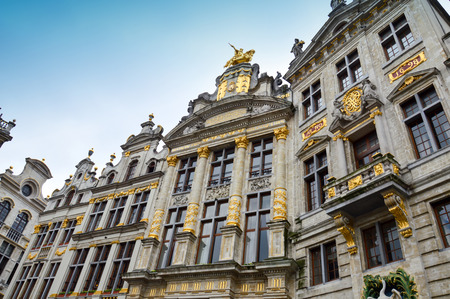 old town guildhall: Brussels, Belgium - April 2015: Grand Place, most memorable landmark of Belgium located at central square of Brussels City surrounded by opulent classic buildings and edifices