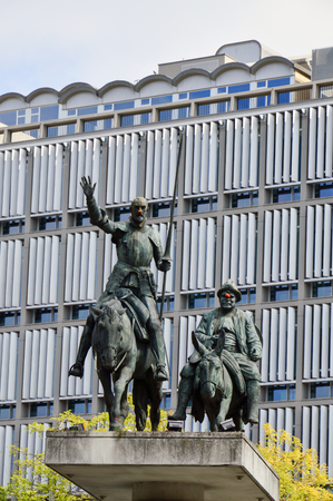 Brussels, Belgium - April 2015: Statues of Don Quixote and Sancho Panza located at Place dEspagne (Spanish Square) near Grand Place in the center of Brussels, Belgium