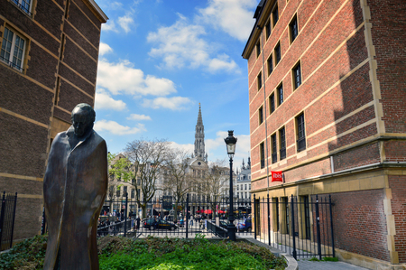 Brussels, Belgium - April 2015: A statue of Hungarian composer and pianist Bela Bartok located at Place dEspagne (Spanish Square) near Grand Place in the center of Brussels, Belgium