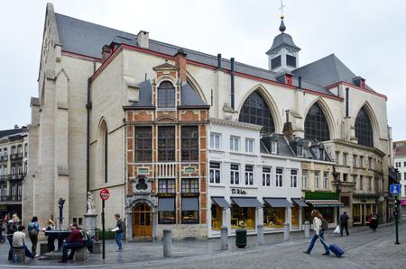Brussels, Belgium - April 2015: The Église St-Nicolas or Saint Nicholas Church located behind the Bourse in Brussels, Belgium Editorial