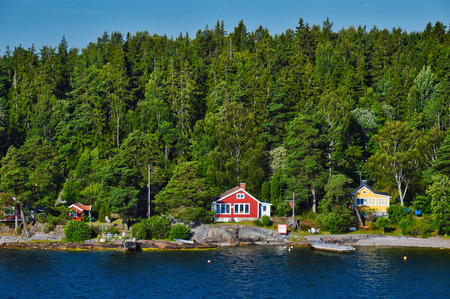 Swedish settlements on islets of Stockholm Archipelago in Baltic Sea, Sweden Editorial