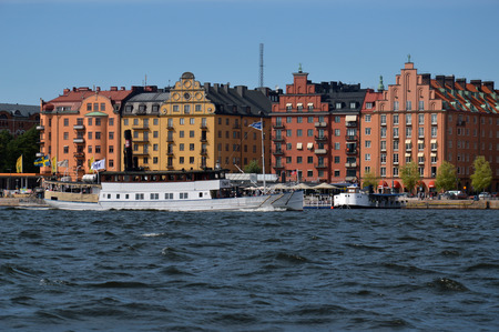 Waterside settlement full of iconic buildings at port of Kungsholmstorg brygga in Stockholm, Sweden Stock Photo - 101239724
