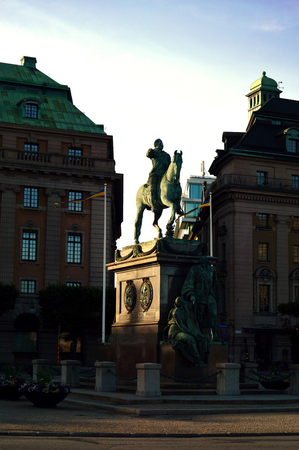 Statue of King Gustav II Adolf (Adolph) at Gustav Adolfs Square in central Stockholm, Sweden