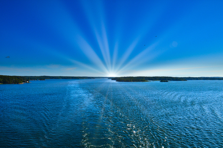 Sunray over Baltic Sea in area of Stockholm Archipelago, Sweden