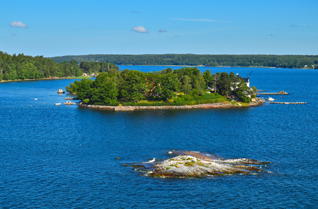 Swedish settlements on islets of Stockholm Archipelago in Baltic Sea, Sweden Stock Photo - 101228301
