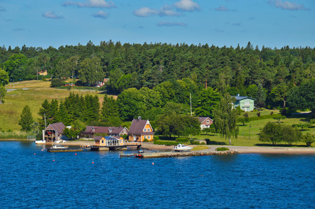 Swedish settlements on islets of Stockholm Archipelago in Baltic Sea, Sweden Stock Photo