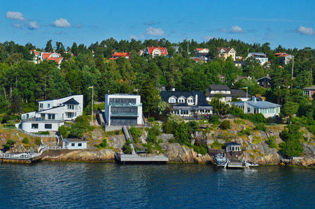 Swedish settlements on islets of Stockholm Archipelago in Baltic Sea, Sweden Stock Photo - 101228413