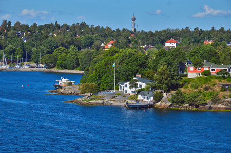 Swedish settlements on islets of Stockholm Archipelago in Baltic Sea, Sweden Stock Photo - 101228470