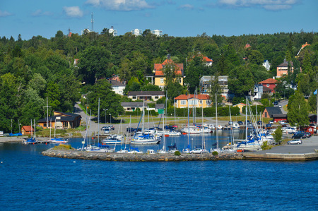 Swedish settlements on islets of Stockholm Archipelago in Baltic Sea, Sweden Stock Photo - 101228501