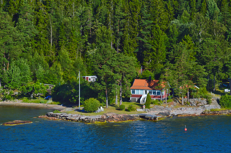 Swedish settlements on islets of Stockholm Archipelago in Baltic Sea, Sweden Stock Photo - 101228533