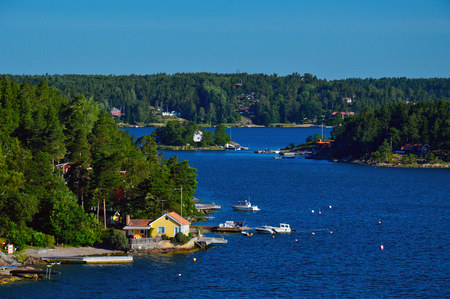 Swedish settlements on islets of Stockholm Archipelago in Baltic Sea, Sweden Stock Photo - 101228541