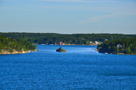 Swedish settlements on islets of Stockholm Archipelago in Baltic Sea, Sweden Stock Photo - 101228656