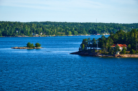 Swedish settlements on islets of Stockholm Archipelago in Baltic Sea, Sweden Stock Photo - 101228670