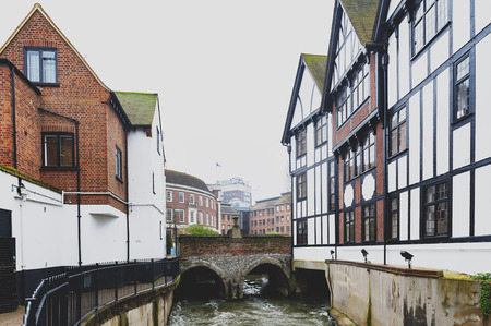Kingston upon Thames, United Kingdom - April 2018:  Clattern Bridge over the Hogsmill, a tributary of the River Thames, in the city of Kingston upon Thames, England Editorial