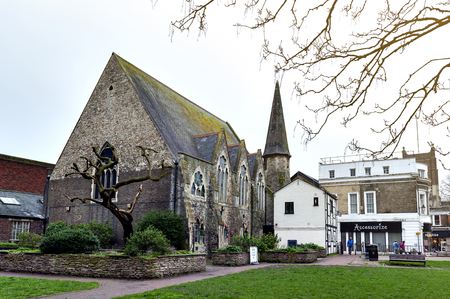 Kingston upon Thames, United Kingdom - April 2018: Stone building of Everyday Church Kingston located next to War Memorial Gardens in town centre of Kingston upon Thames, England