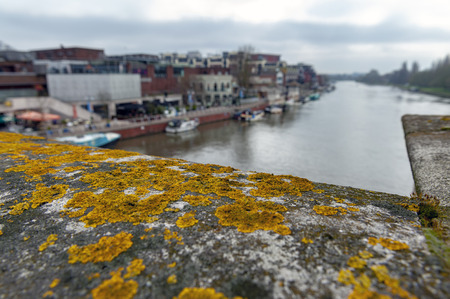 The historic Kingston Bridge over the River Thames covered with gold lichens, England, United Kingdom Stock Photo - 101964881