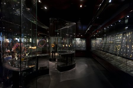 London, UK � April 2018: jewellery exhibition at The William and Judith Bollinger Gallery in Victoria and Albert Museum