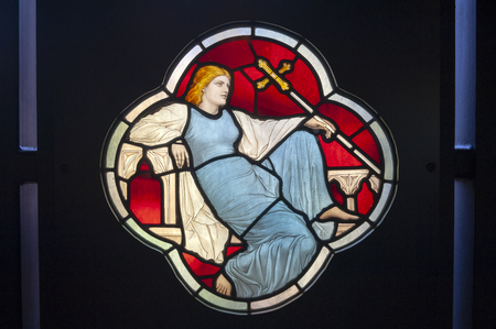 London, UK � April 2018: Panels of stained and painted glass exhibited at Sacred Silver and Stained Glass room at the Whiteley Gallery in Victoria and Albert Museum Editorial