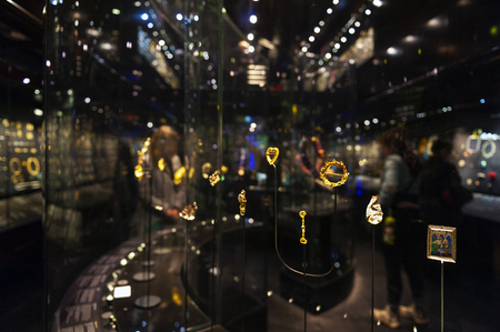 London, UK – April 2018: jewellery exhibition at The William and Judith Bollinger Gallery in Victoria and Albert Museum Editorial