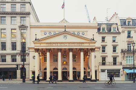 London, UK - April 2018: Theatre Royal Haymarket, a West End theatre and the third-oldest London playhouse still in use since 1720, located on Haymarket street in the City of Westminster Éditoriale