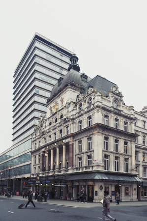 London, UK - April 2018: Exterior of Her Majesty's Theatre, a West End theatre situated on Haymarket in the City of Westminster and venue for the production of Phantom of the Opera, the second longest-running West End musical in history Editoriali