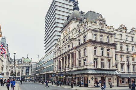 London, UK - April 2018: Exterior of Her Majesty's Theatre, a West End theatre situated on Haymarket in the City of Westminster and venue for the production of Phantom of the Opera, the second longest-running West End musical in history