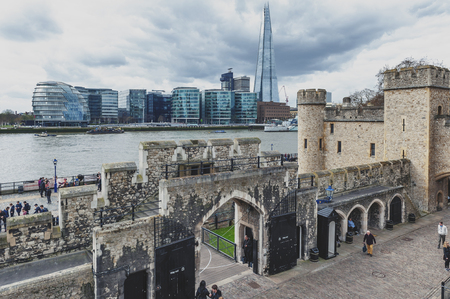 London, UK - April 2018: The Shard, tallest building in UK, iconic architectural landmarks of London located on the Southwark bank of the River Thames seen from Tower of London, England