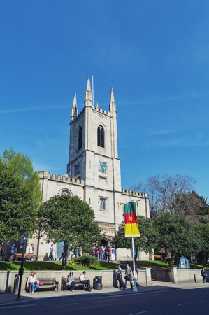Windsor, UK - April 2018: St John the Baptist, Windsor Parish Church located on High Street in Windsor, Berkshire, England