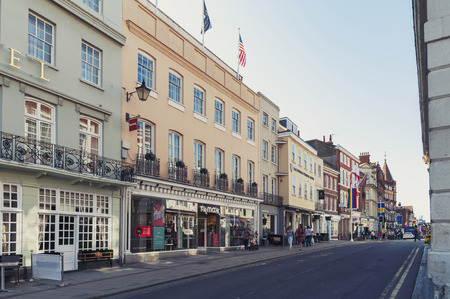 Windsor, UK - April 2018: Restaurant, bar, and souvenir shop on River Street in downtown Windsor, Berkshire, England