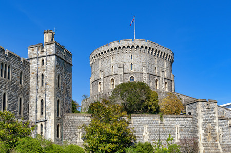 Windsor, UK - April 2018: The Round Tower in the Middle Ward of Windsor Castle, a royal residence at Windsor in county of Berkshire, England, UK