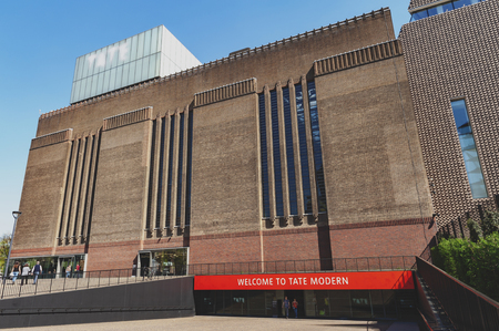 London, UK - April 2018: Exterior building of the Switch House now Tate Modern, museum of modern and contemporary art located at the Bankside area of the London Borough of Southwark, UK