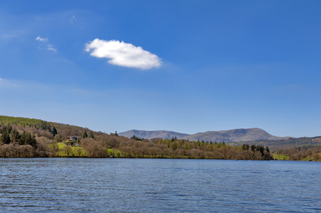 Beautiful blue water of Lake Windermere in the Lake District National Park, South Lakeland, North West England, UK