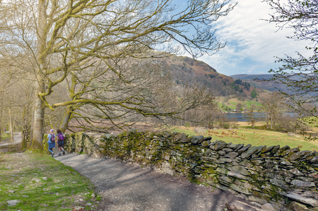 South Lakeland, UK - April 2018: White Moss Walks, scenic forest recreational area by River Rothay in Ambleside, Lake District National Park in South Lakeland, England, UK