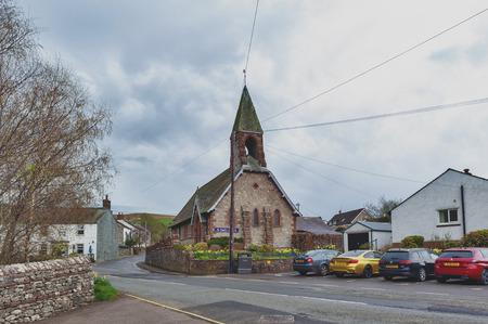 Eden, England - April 2018: Saint Paul Church in Pooley Bridge, a small village near Lake Ullswater in Lake District, England