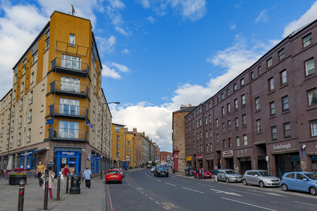 Edinburgh, Scotland - April 2018: Early 19th century Victorian tenement flats and historic buildings on Tollcross, a major road junction to the south west of the city centre of Edinburgh in Scotland, UK