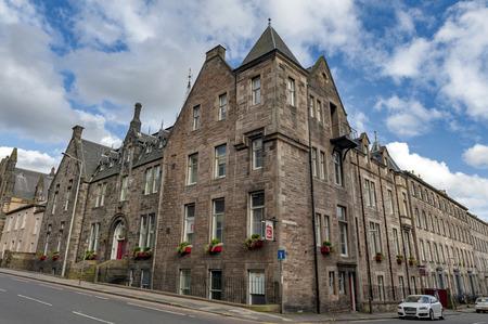 Edinburgh, Scotland - April 2018: Historic building on Lauriston Place currently served as Leonardo Boutique Hotel Simpson Townhouse Edinburgh, UK