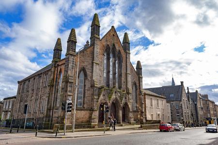 Edinburgh, Scotland - April 2018: Historic building of Dar Al-Arqam Mosque and Muslim Welfare House Edinburgh on Lauriston Place, Edinburgh, UK Editorial