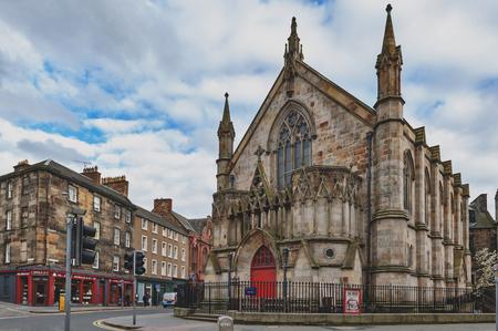 Edinburgh, Scotland - April 2018: Bedlam Theatre, the oldest student-run theatre in Britain and venue for the famous Edinburgh Fringe, housed in a former Neo-gothic church in central Edinburgh, UK Editorial