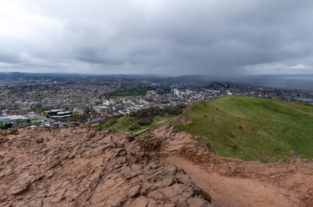 View of Edinburgh city from Arthur's Seat, the highest point in Edinburgh located at Holyrood Park, Scotland, UK