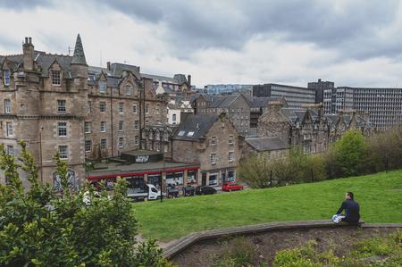 Edinburgh, Scotland - April 2018: Cityscape of old town Edinburgh with classic Scottish buildings on King Stables Road from Johnston Terrace, Grassmarket, near Edinburgh Castle Editorial