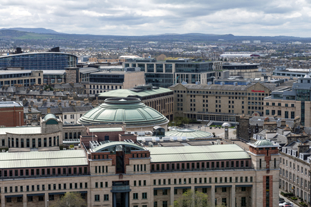 Edinburgh, Scotland - April 2018: Edinburgh, Scotland - April 2018: Cityscape of old town Edinburgh from Usher Hall and Traverse Theatre towards Sheraton Grand Hotel and Spa, Edinburgh Editorial