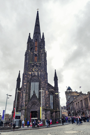 Edinburgh, Scotland - April 2018: Tron Kirk, former gothic church, now functioned as The Hub, venue for various events and festivals on Royal Mile, touristic street of Old Town Edinburgh City in Scotland, UK Editorial