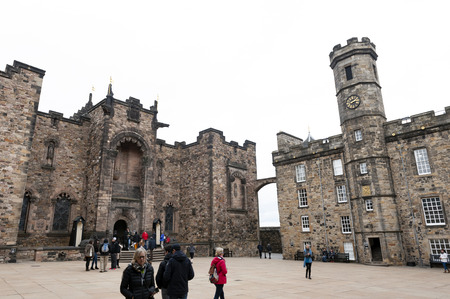 Edinburgh, Scotland - April 2018: The Crown Square comprised of Scottish National War Memorial, Royal Palace, Great Hall, and Queen Anne Building inside Edinburgh Castle, Scotland, UK Editoriali